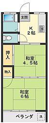 東京都西東京市中町1丁目の賃貸アパートの間取り