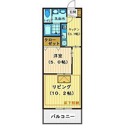 埼玉県川越市富士見町の賃貸マンションの間取り