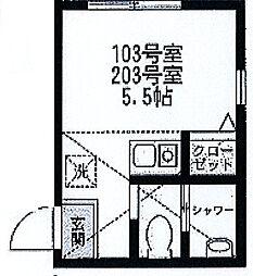スミカ横浜根岸[103号室]の間取り