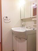 洗面化粧台などの水回りもとても綺麗です。洗面ボウルは大きく、シャワーヘッド付きの洗面化粧台です。