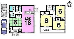 南西角地、全居室6帖以上のゆとりある間取りです。LDKは広々18帖南向きバルコニーで陽当たりもきっとご満足頂けます。