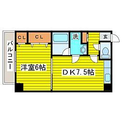 北海道札幌市東区北二十四条東16丁目の賃貸マンションの間取り