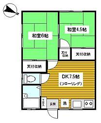 神奈川県横浜市鶴見区菅沢町の賃貸アパートの間取り