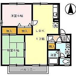 愛媛県松山市保免西2丁目の賃貸アパートの間取り