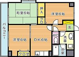 ジョイフル祇園桜通り(特優賃)[3階]の間取り