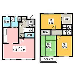 [テラスハウス] 岡山県岡山市中区関 の賃貸【/】の間取り