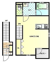 深堀町新築アパートB棟 2階1Kの間取り
