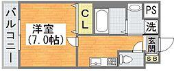 Osaka Metro谷町線 平野駅 徒歩5分の賃貸マンション 4階1Kの間取り
