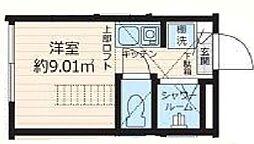東京メトロ有楽町線 要町駅 徒歩5分の賃貸アパート 地下1階ワンルームの間取り