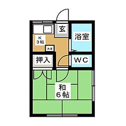 ハイツ富士[1階]の間取り