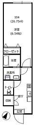 京王線 千歳烏山駅 徒歩5分の賃貸アパート 1階1Kの間取り