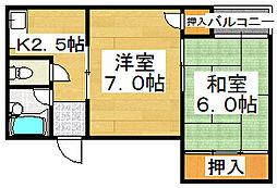 シティーハイム浅香[2階]の間取り