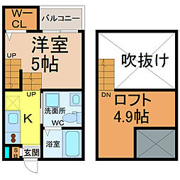 愛知県名古屋市西区上名古屋2丁目の賃貸アパートの間取り