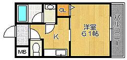 ピーコック和泉[102号室]の間取り