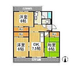ロイヤルマンション美男川 錦館[2階]の間取り