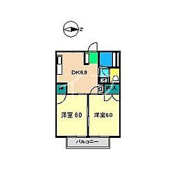 コーポ中岡[2階]の間取り