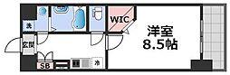 JPレジデンス大阪城東IV 3階1Kの間取り