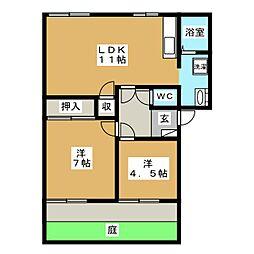 メゾンパークス C[1階]の間取り