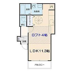 仙台市地下鉄東西線 国際センター駅 徒歩6分の賃貸アパート 1階ワンルームの間取り