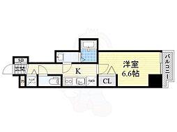 JR東西線 大阪天満宮駅 徒歩4分の賃貸マンション 4階1Kの間取り