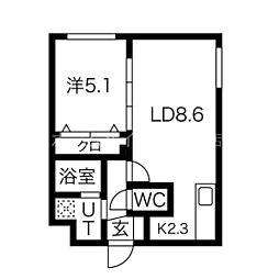パインハート中の島  (仮)中の島1-2MS 4階1LDKの間取り