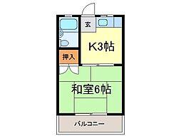 静岡県富士市十兵衛の賃貸アパートの間取り