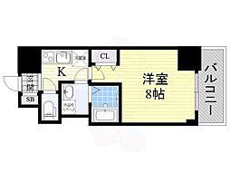 BPRレジデンス江坂(旧レジディア江坂2) 12階1Kの間取り