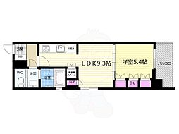 リーガル京都五条大宮 7階1LDKの間取り