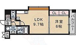 プラネシア星の子山科三条 6階1LDKの間取り