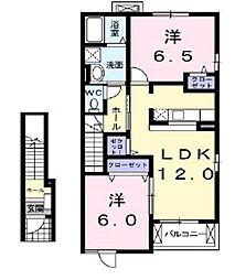 埼玉県川越市古谷上の賃貸アパートの間取り