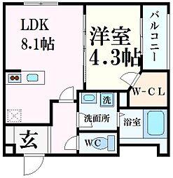 阪神本線 西宮駅 徒歩7分の賃貸マンション 2階1LDKの間取り