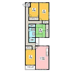 プリベイルビル[2階]の間取り