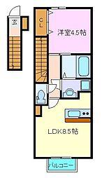 仙台市営南北線 長町一丁目駅 徒歩9分の賃貸アパート 2階1LDKの間取り