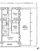 最上階角住戸、3LDK・71.05平米