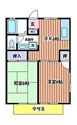 パールメントハイツ B棟[1階]の間取り