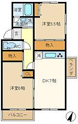 武里団地5-17-401[4階]の間取り