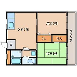 奈良県奈良市北永井町の賃貸マンションの間取り