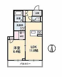 仮)ベレオ古川南 3階1LDKの間取り