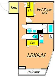 THE CLASS OMORI RESIDENCE 1階1LDKの間取り