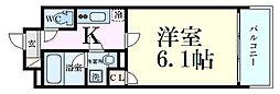 Osaka Metro堺筋線 南森町駅 徒歩3分の賃貸マンション 7階1Kの間取り
