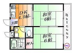 MJハイツ東別府[2階]の間取り