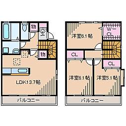 [テラスハウス] 神奈川県横浜市都筑区荏田東4丁目 の賃貸【/】の間取り