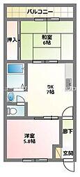 京阪本線 古川橋駅 徒歩10分の賃貸マンション 3階2DKの間取り