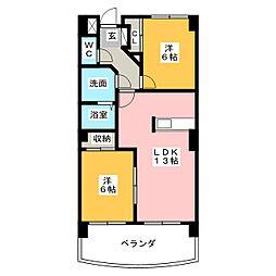 リーガル桜島[2階]の間取り