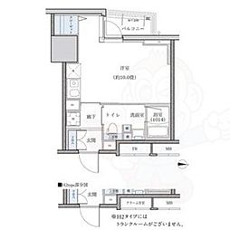 名古屋市営東山線 新栄町駅 徒歩9分の賃貸マンション 11階ワンルームの間取り