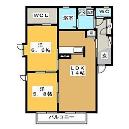 ローズハイム B棟[2階]の間取り
