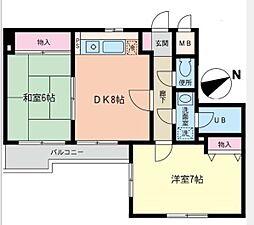神奈川県横浜市南区井土ケ谷中町の賃貸マンションの間取り