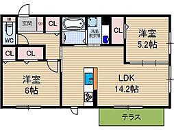 SEJOUR KASUGA[102号室号室]の間取り