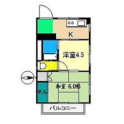 ディア・コート中井[4階]の間取り