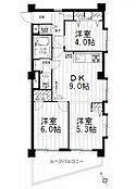 3DKの間取り図。最上階5階・東南角部屋で陽当り眺望良好です。